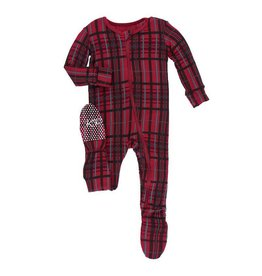 Kickee Pants Kickee Pants| Christmas Plaid Zipper Footie