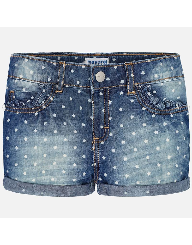 Mayoral Mayoral | Floral Dot Denim Shorts