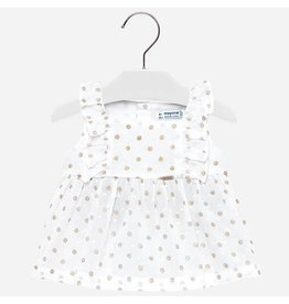 Mayoral Mayoral | Polka Dot Ruffle Sleeve Baby Top