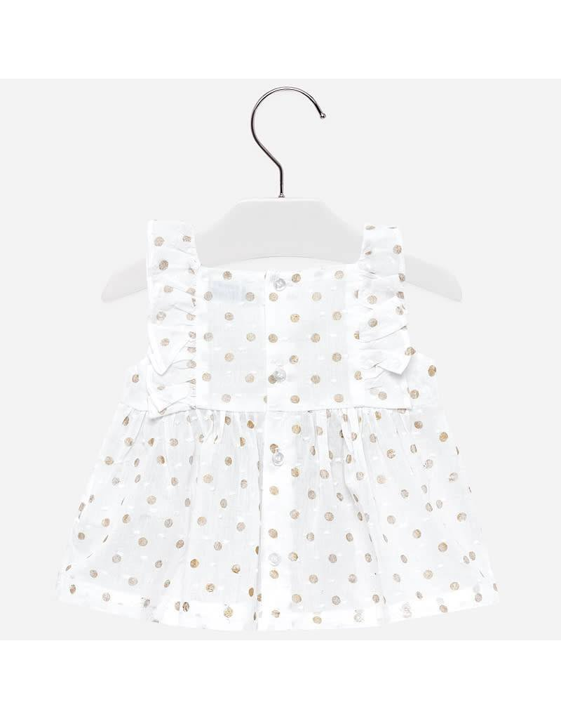 Mayoral Mayoral | Polka Dot Ruffle Sleeve Baby Top