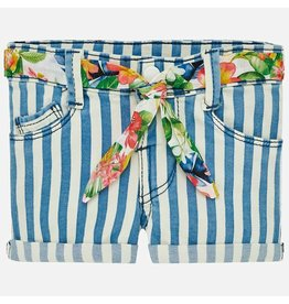 Mayoral Mayoral |Striped Floral Tie Baby Shorts