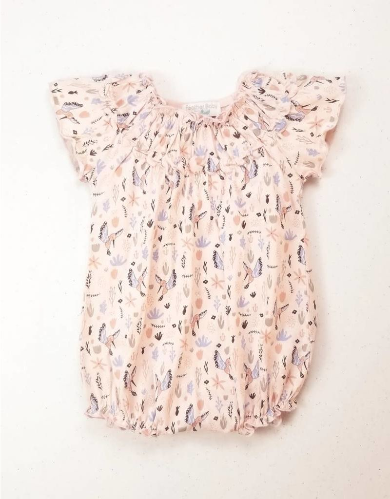 Feather Baby |Winged Bird Flutter Sleeve Romper