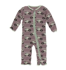 Kickee Pants Kickee Pants| Zipper Ruffle Coverall in Raisin Tractor