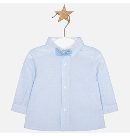 Mayoral Mayoral | Fine Stripe Baby Shirt with Bowtie