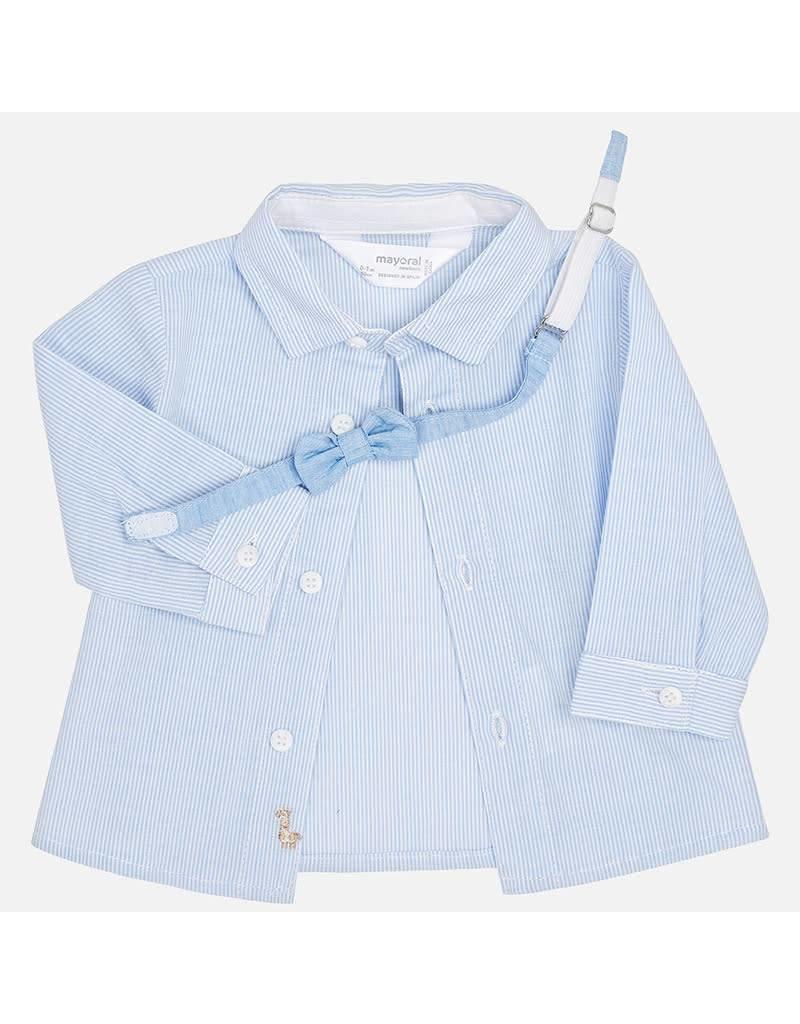 Mayoral Mayoral | Fine Stripe Baby Shirt with Bowtie