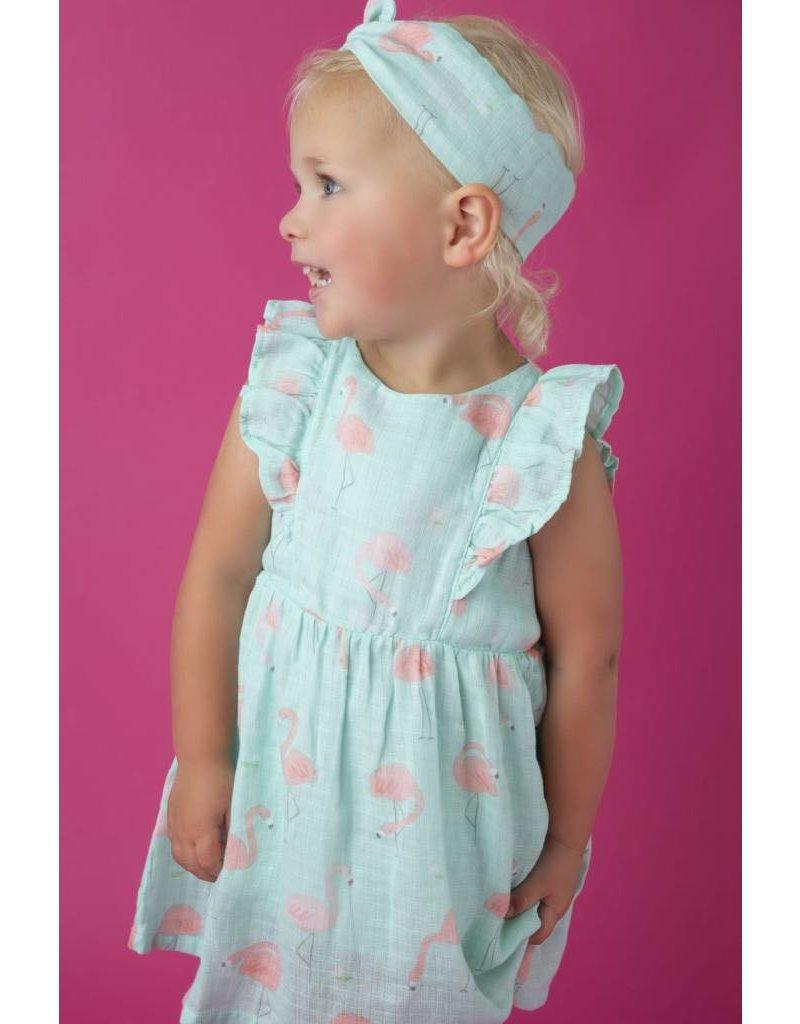 Angel Dear Angel Dear | Flamingo Muslin Ruffle Sundress & Bloomer