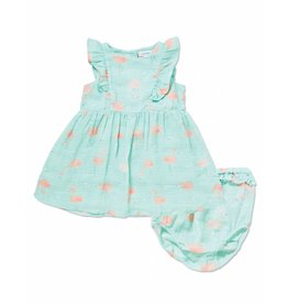 Angel Dear Angel Dear | Flamingo Muslin Ruffle Sundress & Bloomer