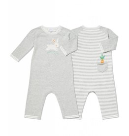 Angel Dear Angel Dear | Grey Bunny Intarsia Coverall