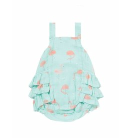 Angel Dear Angel Dear | Flamingo Muslin Ruffle Sunsuit