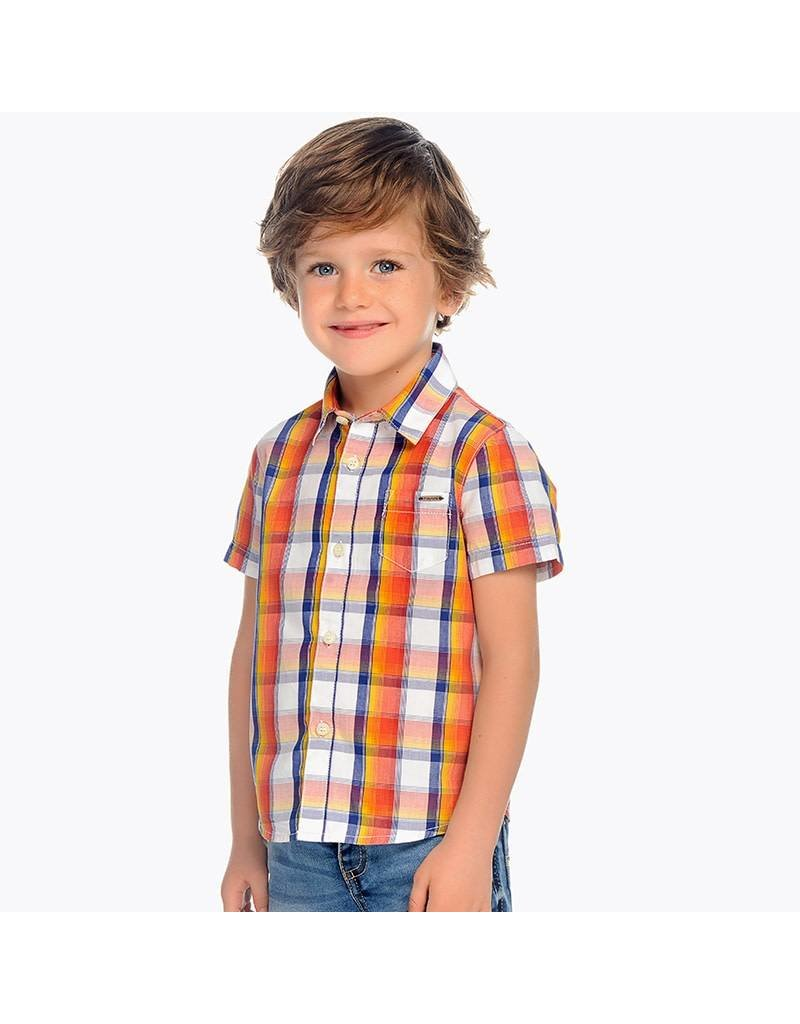 Mayoral Mayoral | Short Sleeve Plaid Button Down Shirt