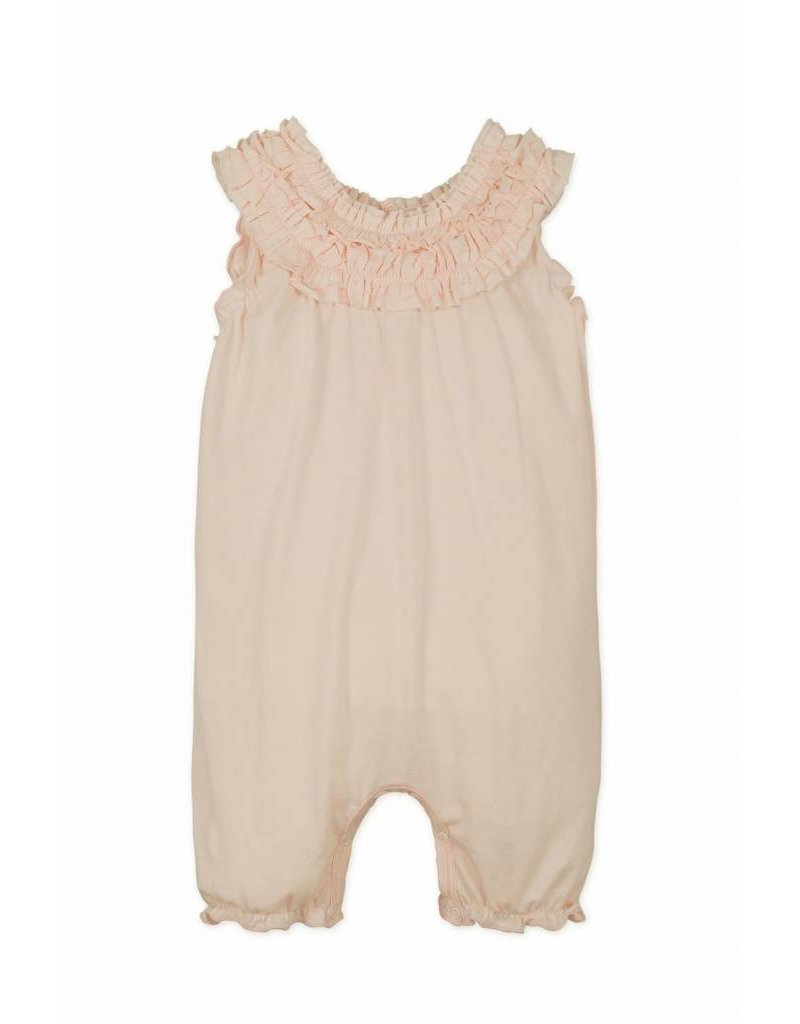 Feather Baby |Double Ruffle Romper in Coral