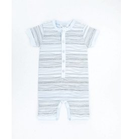 Feather Baby | Henley Romper in Baby Blue