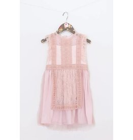 Mae Li Rose | Lace Apron Dress in Blush