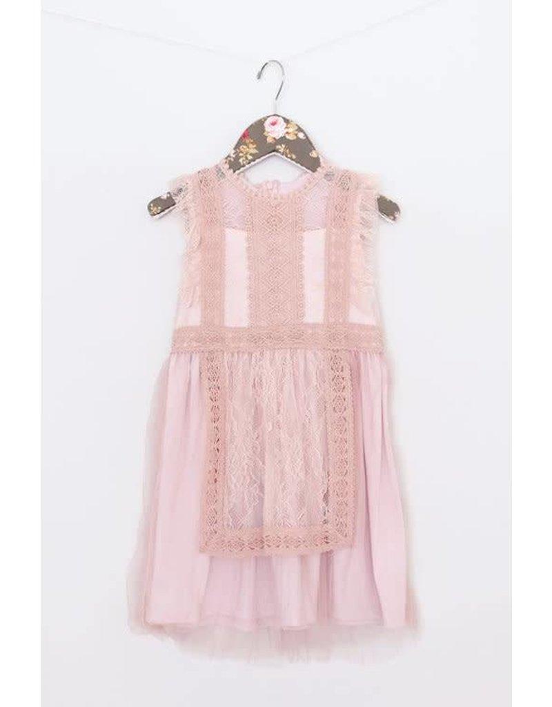 Mae Li Rose | Lace Apron Dress in Blush