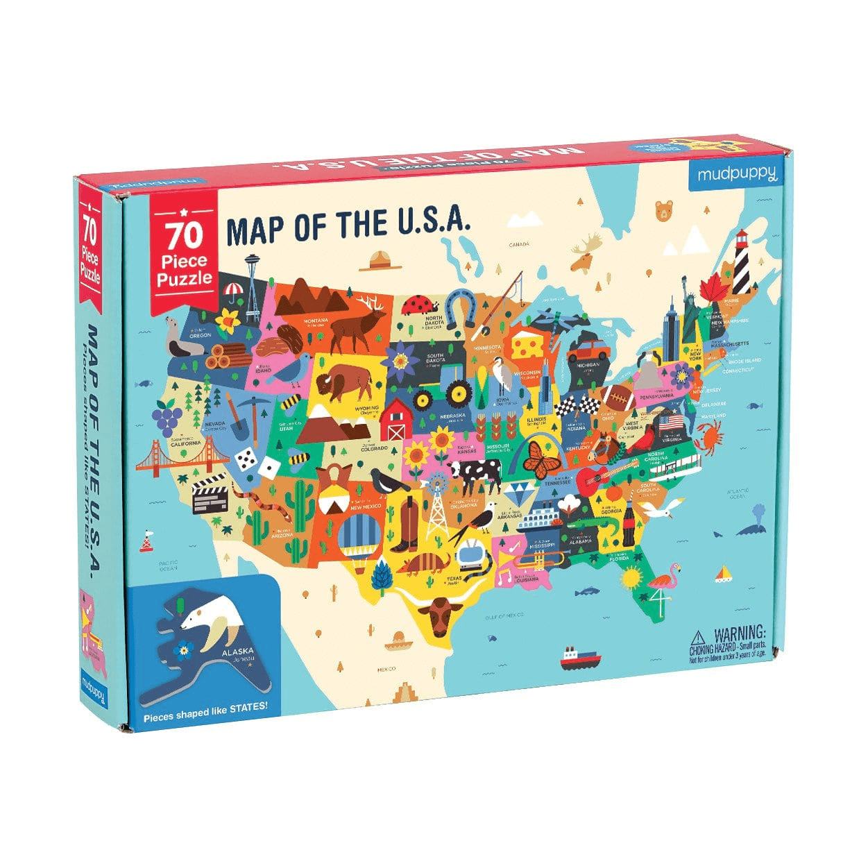 Mudpuppy | 70 pc USA Map Puzzle on venezuela's map, uk's map, www.usa map,