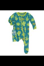 Kickee Pants Kickee Pants  Seagrass Cactus Zipper Footie