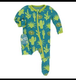 Kickee Pants Kickee Pants| Seagrass Cactus Zipper Footie