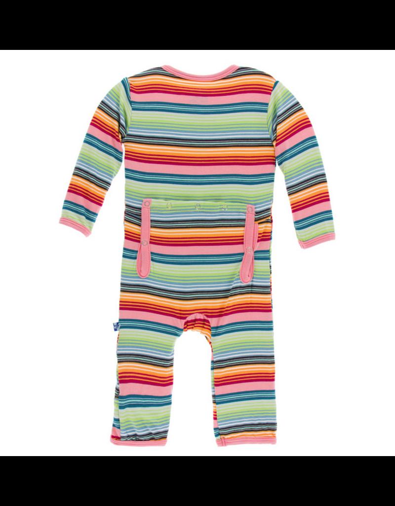 Kickee Pants Kickee Pants| Cancun Strawberry Stripe Zipper Coverall