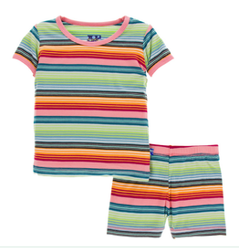 Kickee Pants Kickee Pants| Cancun Strawberry Stripe Pajama Set with Shorts