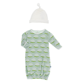 Kickee Pants Kickee Pants| Aloe Ixora Gown & Hat Set