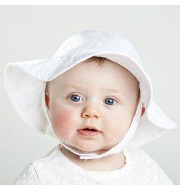 Huggalugs White Flower Eyelet Sun Hat