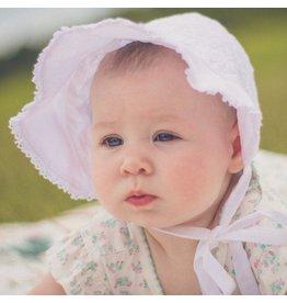 Huggalugs White Eyelet Bow Bonnet