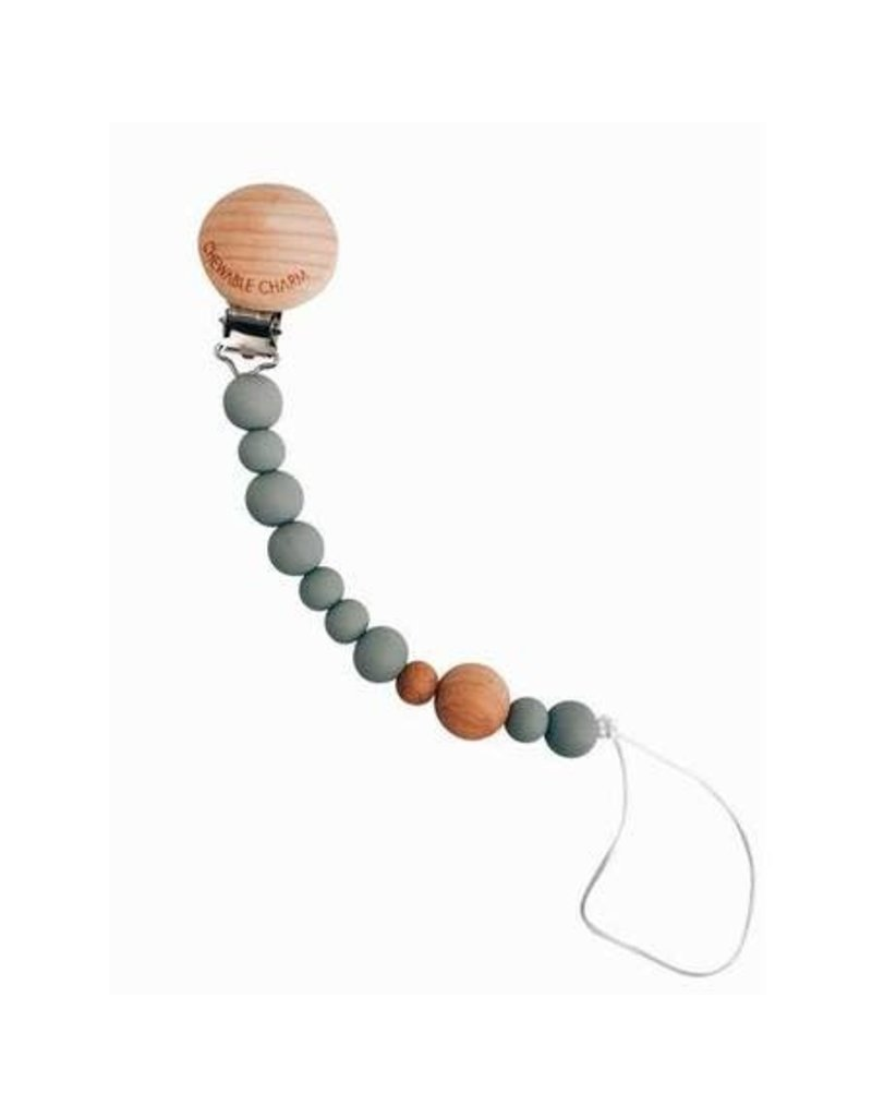 Chewable Charms Beaded Pacifier Clip   Grey