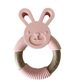 Bunny Wood + Silicone Teether | Pink