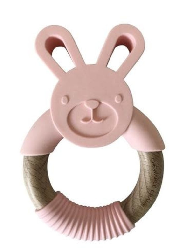 Chewable Charms Bunny Wood + Silicone Teether | Pink
