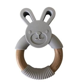 Chewable Charms Bunny Wood + Silicone Teether | Grey