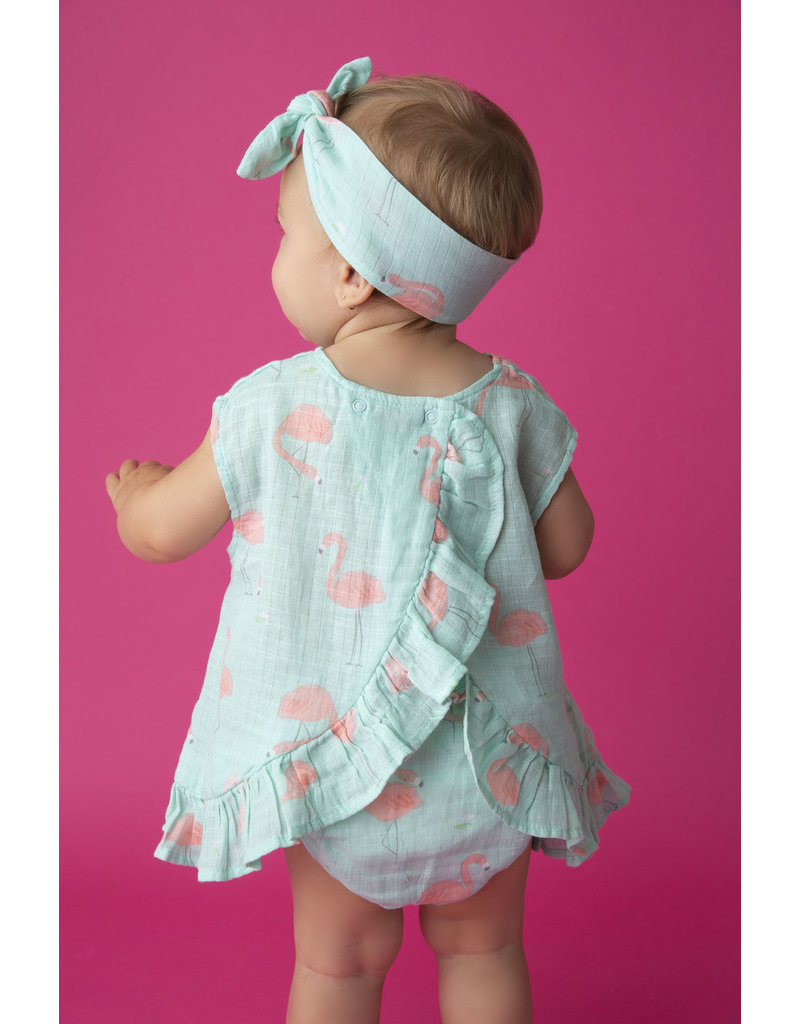 Angel Dear Angel Dear | Muslin Flamingos Print Top & Bloomer Set