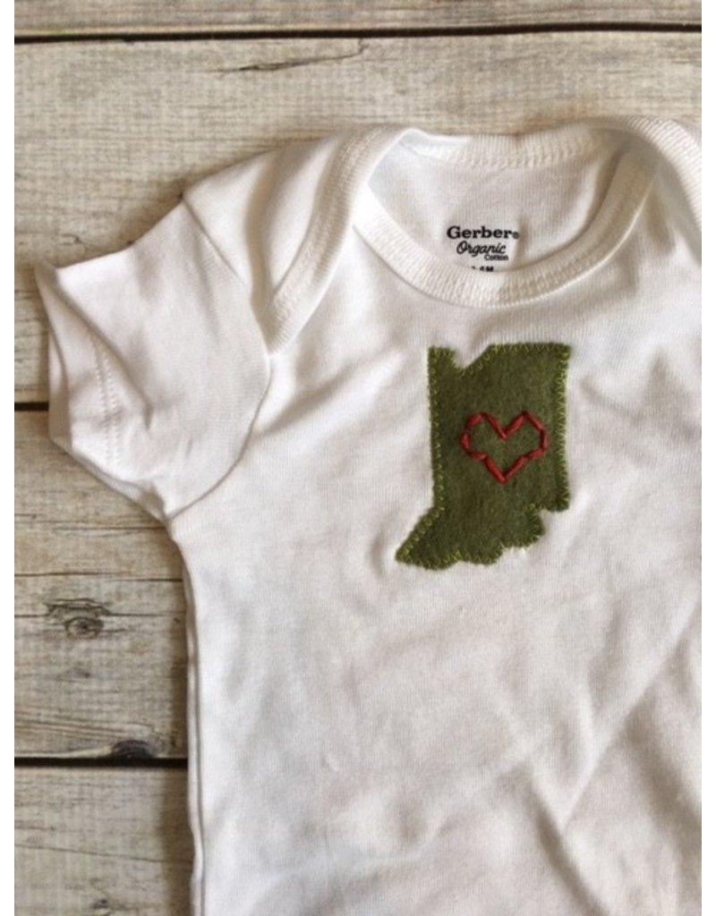 Elms & Cedars | Hand Embroidered Hoosier Love Bodysuit