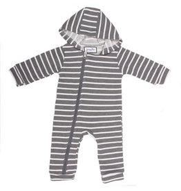 Young & Free | Striped Cuddlesuit Grey