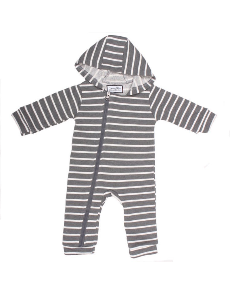 Young & Free | Striped Cuddle Suit Grey