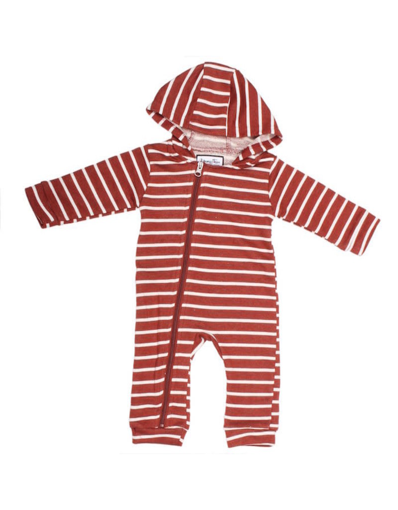 Young & Free | Striped Cuddlesuit Rust