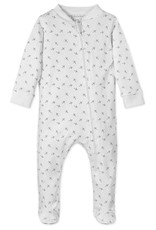 Feather Baby | Tiny Airplanes on White Zipper Footie