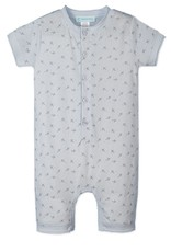 Feather Baby   Henley Romper Tiny Airplanes on Baby Blue