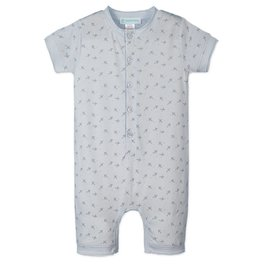 Feather Baby | Henley Romper Tiny Airplanes on Baby Blue