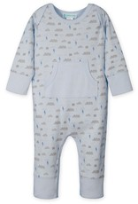 Feather Baby | Kangaroo Romper Stormy Sky on Baby Blue