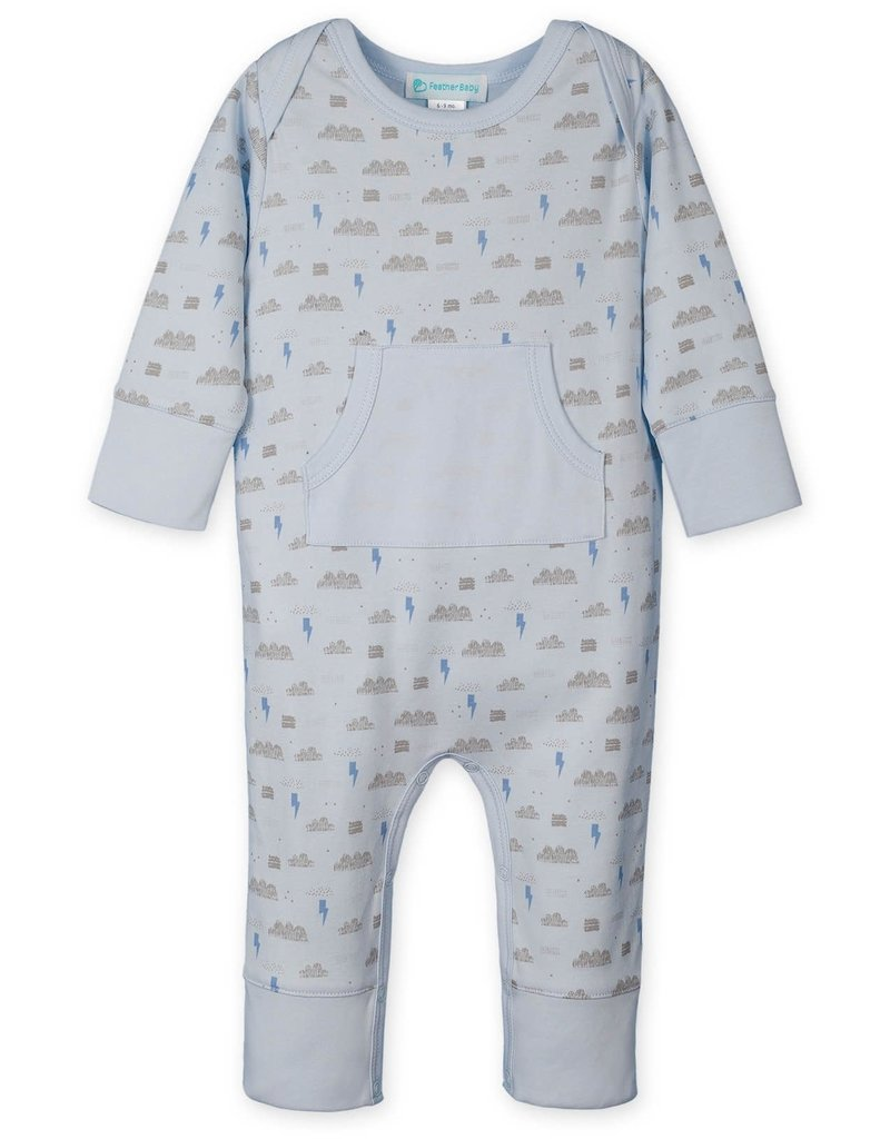 Feather Baby Feather Baby | Kangaroo Romper Stormy Sky on Baby Blue
