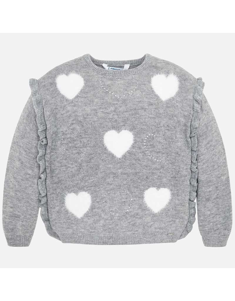 Mayoral Mayoral| Grey Hearts Sweater