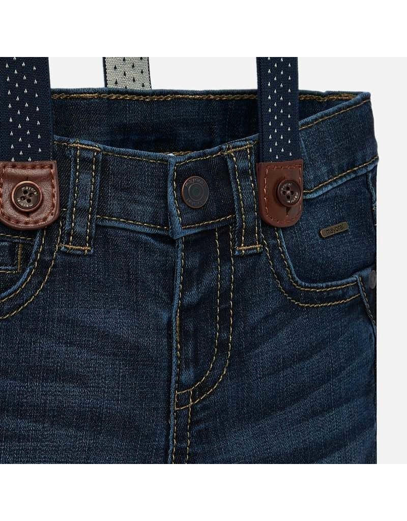 Mayoral Mayoral | Dark Wash Baby Jeans with Suspenders