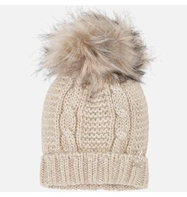 Mayoral Mayoral| Cable Knit Hat with Fur Pom