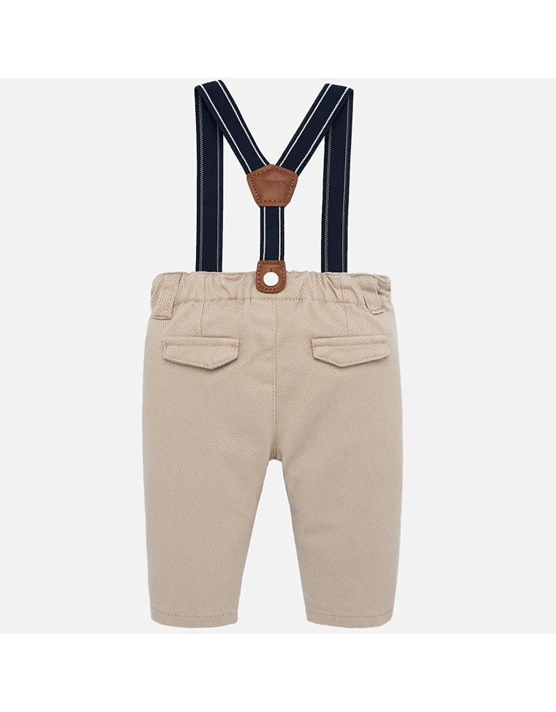 Mayoral Mayoral | Textured Twill Pants With Suspenders