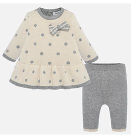 Mayoral Mayoral | Polka Dot Knit Dress & Legging Set