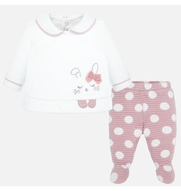 Mayoral Mayoral | Bunny Top & Footed Pant Set