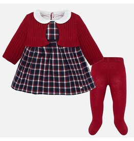 Mayoral Mayoral | Plaid Cardi Dress & Tights Set