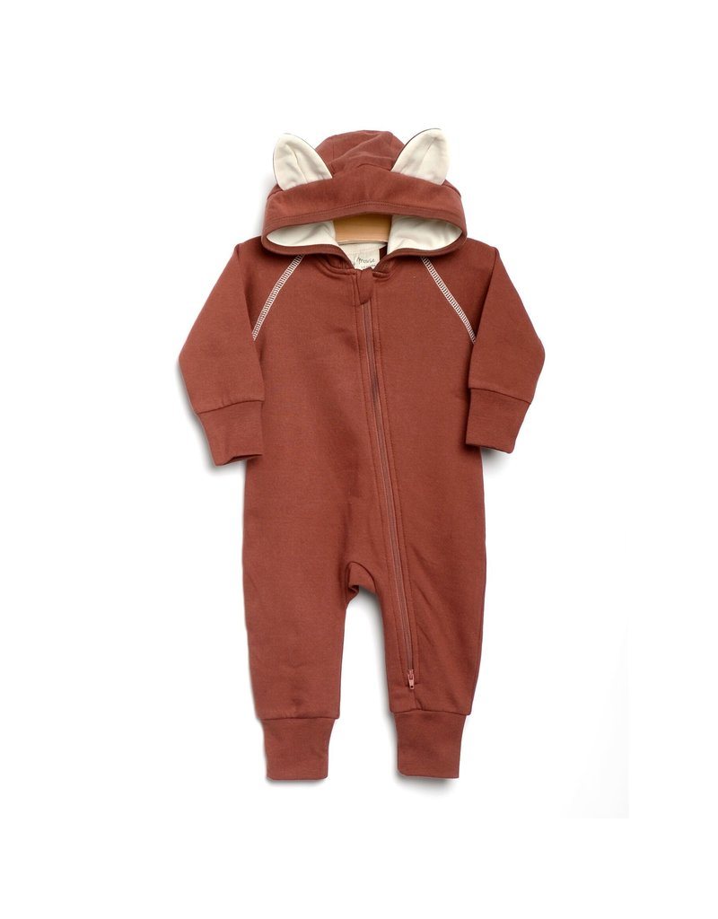City Mouse City Mouse   Fox Hooded Romper in Rust