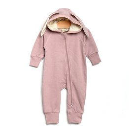 City Mouse City Mouse   Bunny Hooded Romper in Mauve