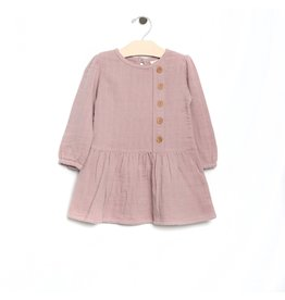 City Mouse City Mouse | Muslin Pintuck Button Dress in Mauve